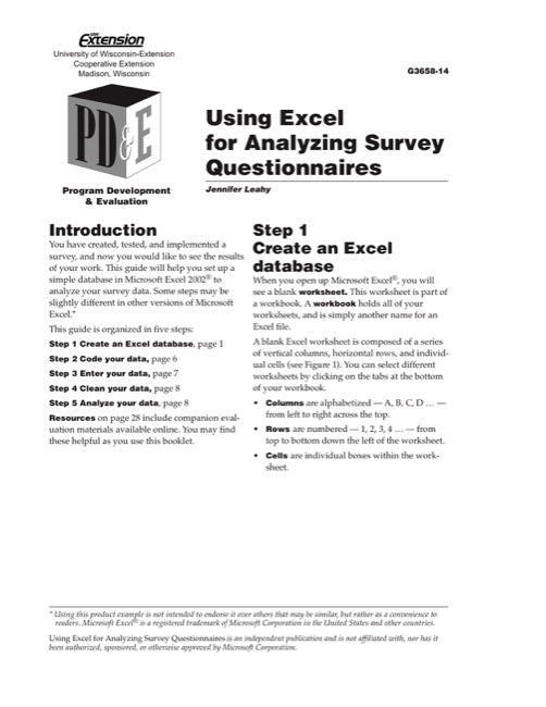 Using Excel for Analyzing Survey Questionnaires