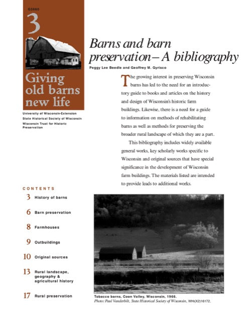 Giving Old Barns New Life: Barns and Barn Preservation—A Bibliography