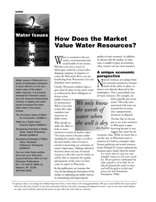 Water Issues in Wisconsin: How Does the Market Value Water Resources?