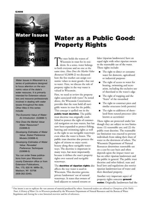 Water Issues in Wisconsin: Water as a Public Good: Property Rights