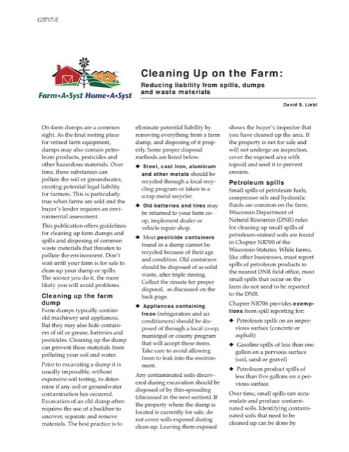 Cleaning Up on the Farm: Reducing Liability from Spills, Dumps and Waste Materials