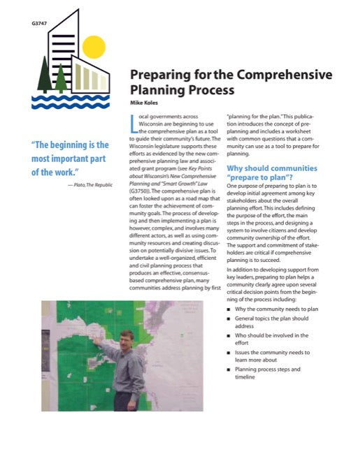 Preparing for the Comprehensive Planning Process
