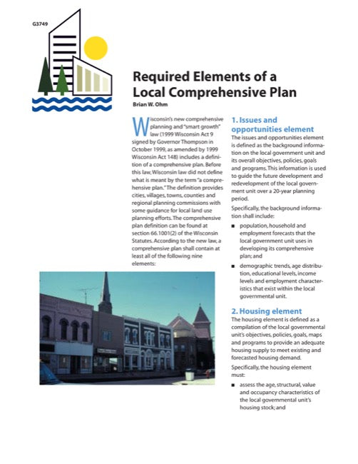 Required Elements of a Local Comprehensive Plan Checklist