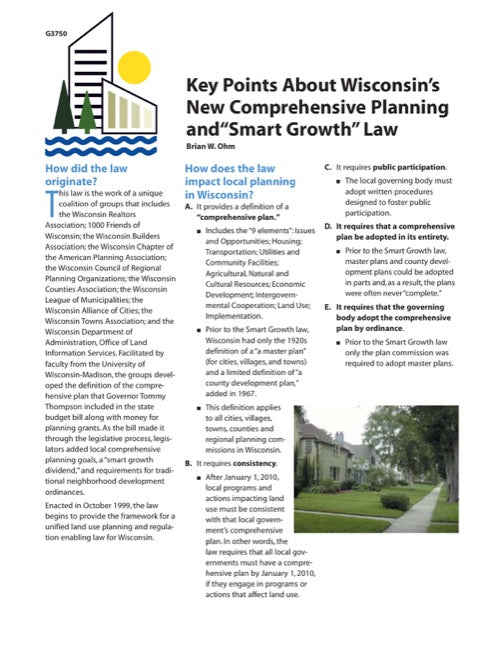 Key Points About Wisconsin's New Comprehensive Planning and Smart Growth Law