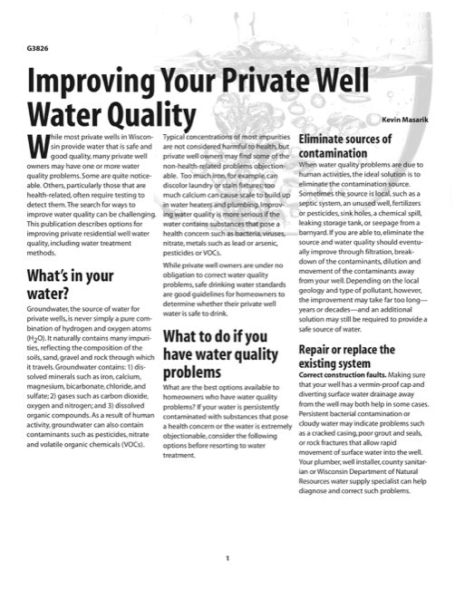 Improving Your Private Well Water Quality