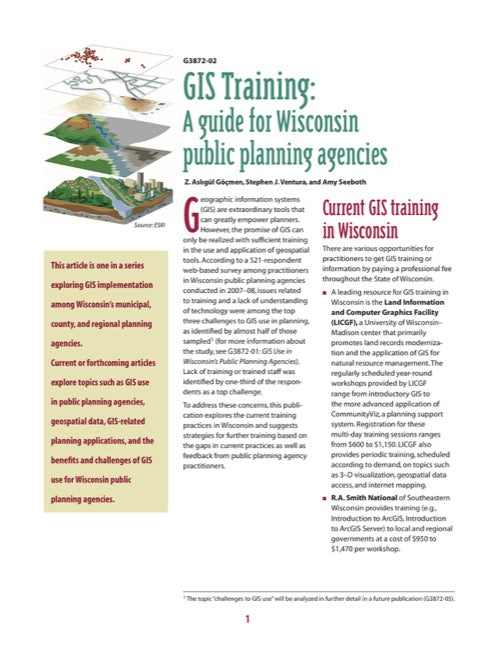 GIS Training: A Guide for Wisconsin Public Planning Agencies