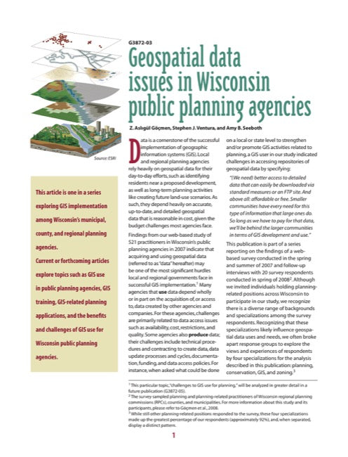 Geospatial Data Issues in Wisconsin Public Planning Agencies
