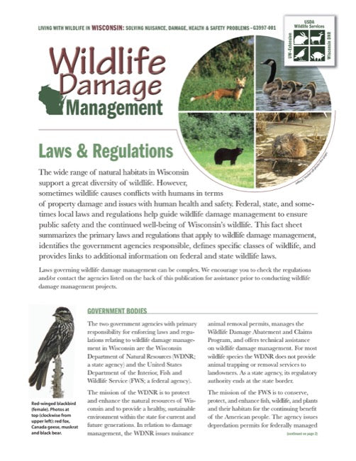 Wildlife Damage Management: Laws and Regulations