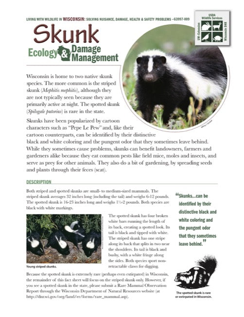 Skunk Ecology and Damage Management