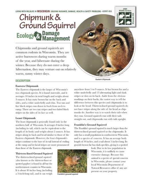 Chipmunk and Ground Squirrel Ecology and Damage Management