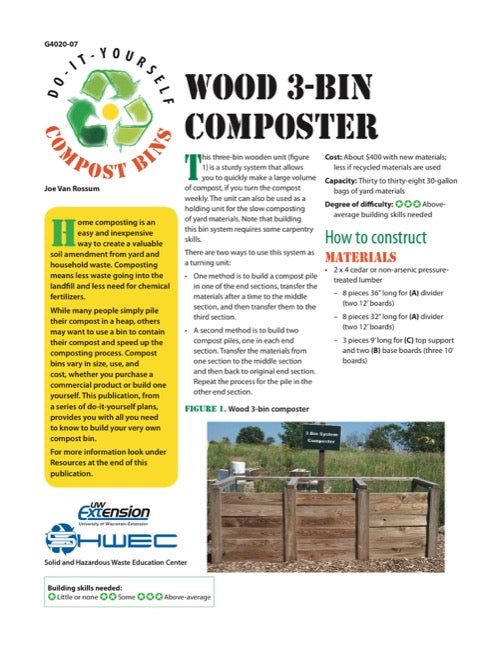 Wood 3-Bin Composter