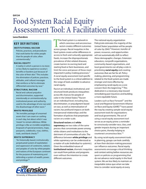 Food System Racial Equity Assessment Tool: A Facilitation Guide