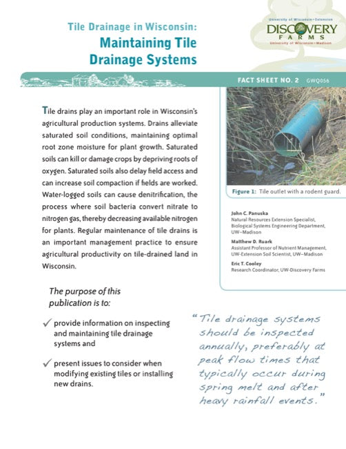 Tile Drainage in Wisconsin: Maintaining Tile Drainage Systems