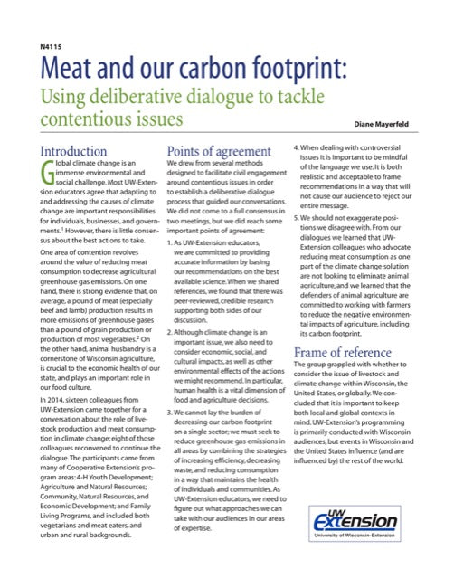 Meat and Our Carbon Footprint: Using Deliberative Dialogue to Tackle Contentious Issues
