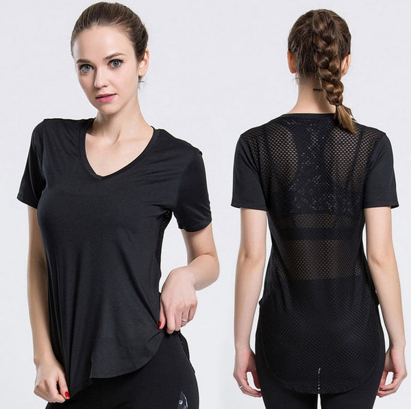 Hollow Mesh Fitness Yoga Top - Mrym Active Wear