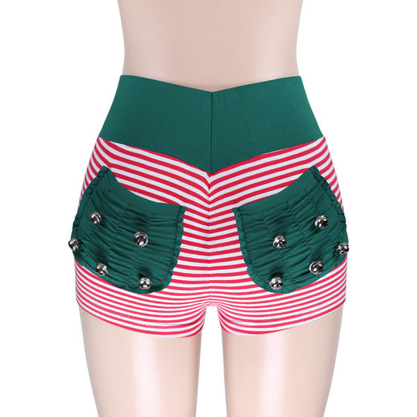 Women Fitness Shorts Patchwork Breathable Workout Ladies Shorts Striped Quick Dry Comfortable Women's Shorts With Bell