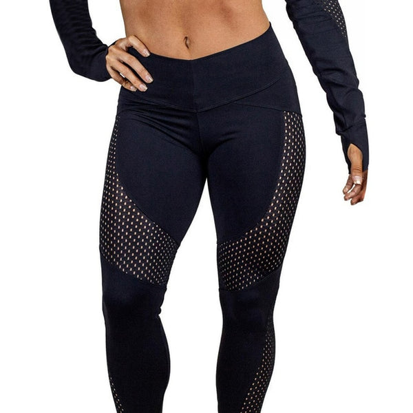 Erma Patchwork Mesh Leggings - Mrym Active Wear
