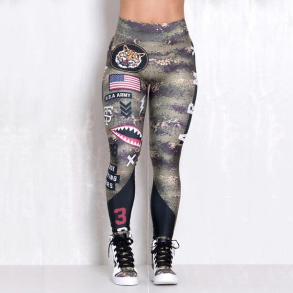 Army Printed Fitness Leggings - Mrym Active Wear
