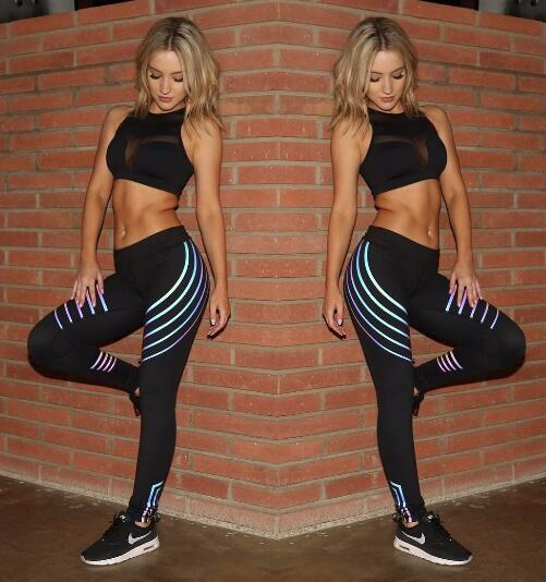 Neon Stripes High Waist Leggings - Mrym Active Wear