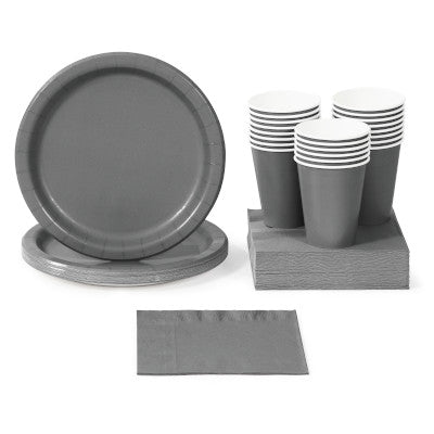 Glamour Gray Solid Color Paper Tableware