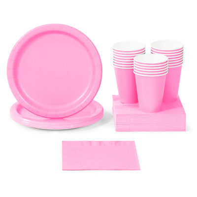 Candy Pink Solid Color Party Tableware