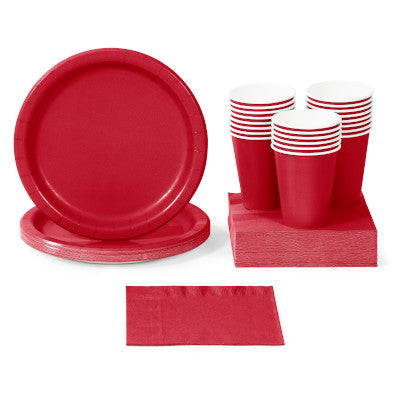 Classic Red Solid Color Party Tableware
