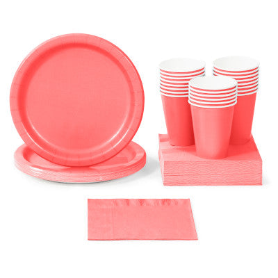 Coral Solid Color Party Tableware