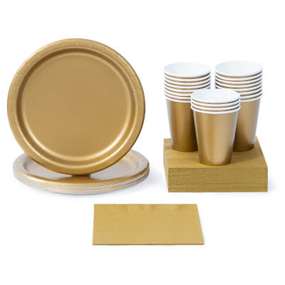 Glittering Gold Solid Color Party Tableware
