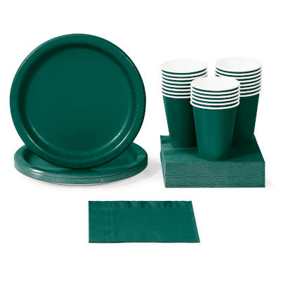Hunter Green Solid Color Party Tableware