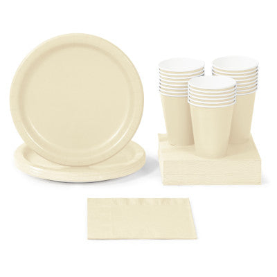 Ivory Solid Color Party Tableware