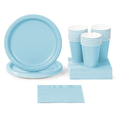 Pastel Blue Solid Color Party Tableware