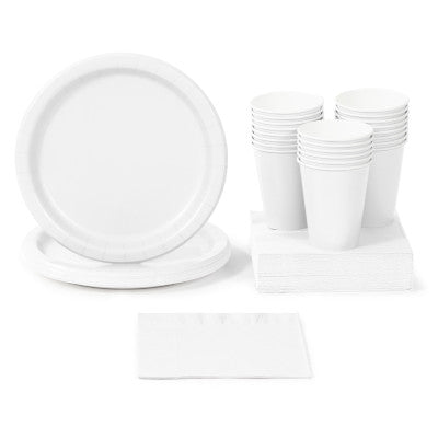 White Solid Color Party Tableware