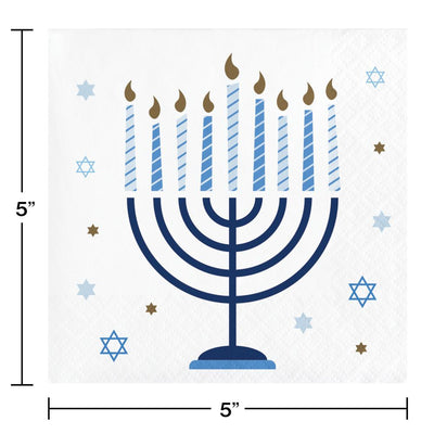 Hanukkah Celebration Beverage Party Napkins 16 ct - Hanukkah Party Supplies