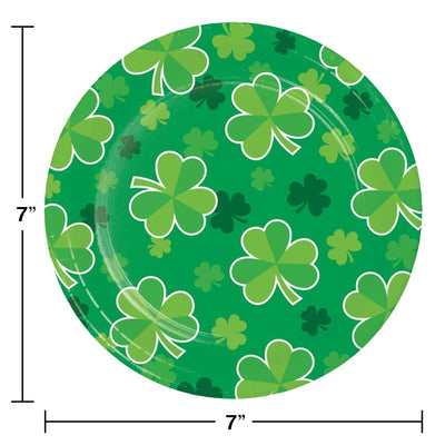 Irish Clover Luncheon Plate, Shamrock Toss (8/Pkg) on sale at PartyDecorations.com