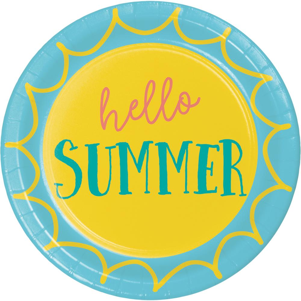Summer Sayings Luncheon Plate, Hello Summer (8/Pkg) by Creative Converting