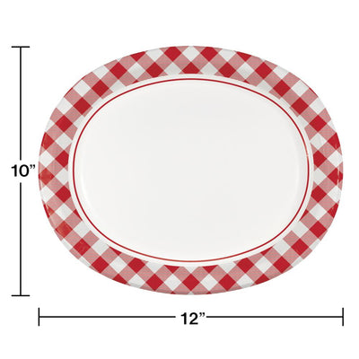 Classic Gingham Oval Platter (8/Pkg) buy today at PartyDecorations.com