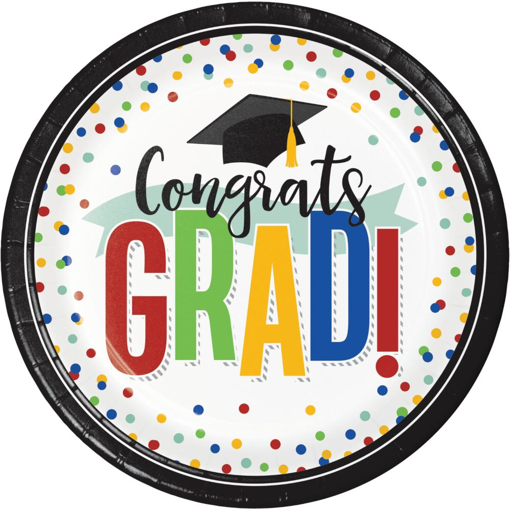 Colorful Grad Dinner Plate (8/Pkg) by Creative Converting