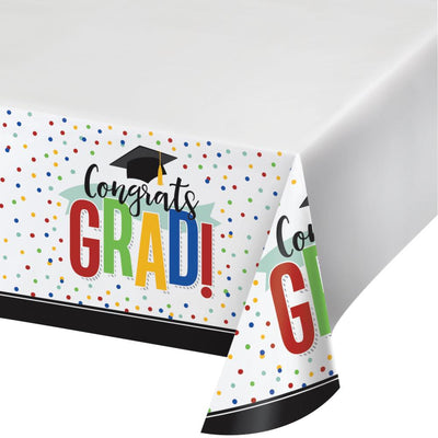 "Colorful Grad Paper Tablecover Border Print, 54"" X 102"" (1/Pkg) by Creative Converting"