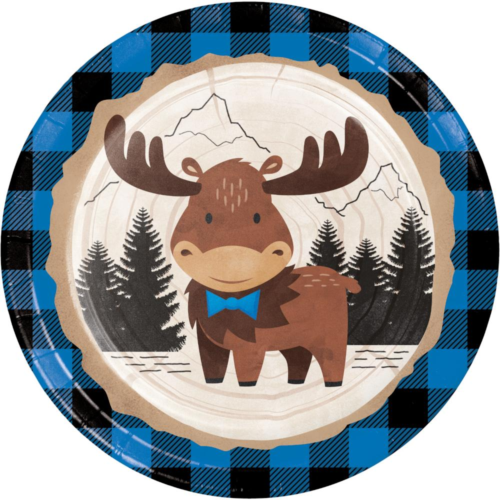 Moose Blue Buffalo Plaid Dinner Plate (8/Pkg) by Creative Converting