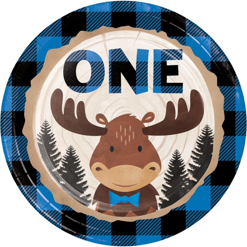 Moose Blue Buffalo Plaid Luncheon Plate, One (8/Pkg) by Creative Converting