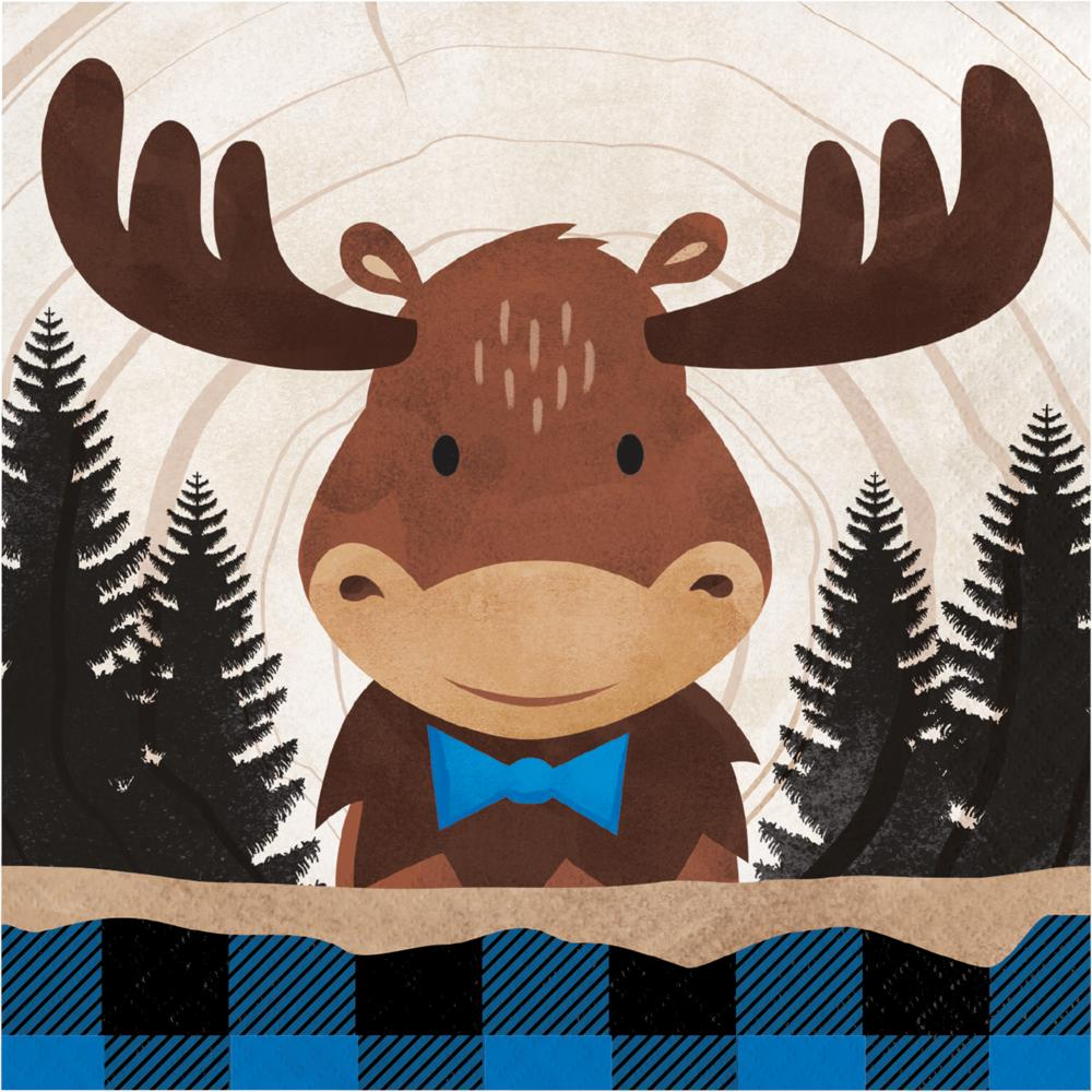Moose Blue Buffalo Plaid Luncheon Napkin (16/Pkg) by Creative Converting