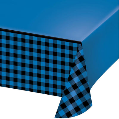 "Blue Black Buffalo Plaid Paper Tablecover All Over Print, 54"" X 102"" (1/Pkg) by Creative Converting"