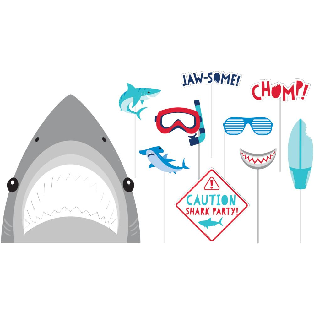 Shark Party Photo Booth Props (10/Pkg) by Creative Converting