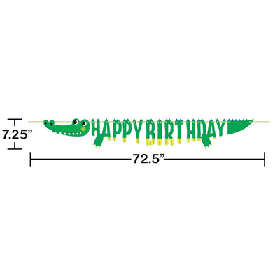 Alligator Party Shaped Banner With Ribbon (1/Pkg)
