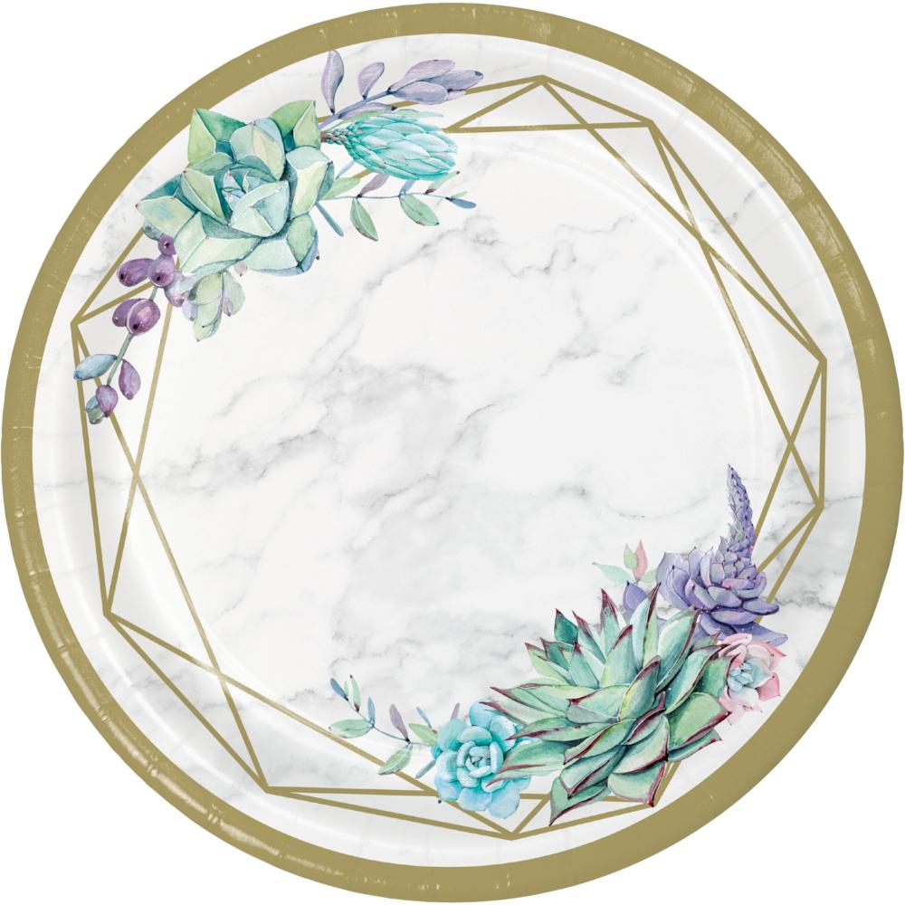 Geometric Succulents Banquet Plate (8/Pkg) by Creative Converting