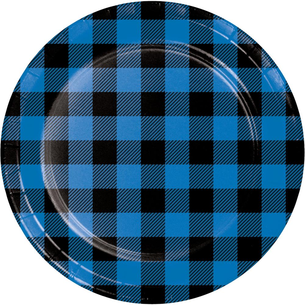 Blue Black Buffalo Plaid Dinner Plate (8/Pkg) by Creative Converting