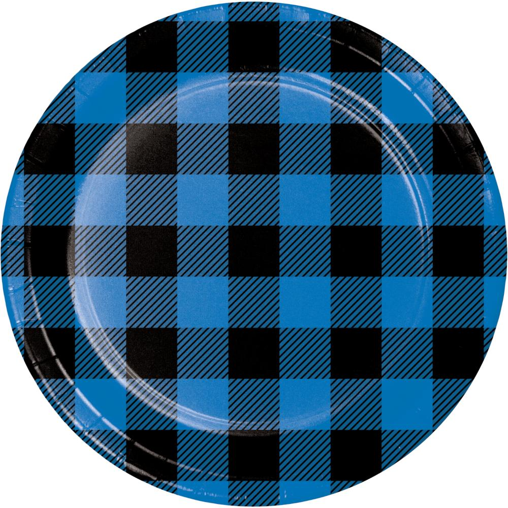 Blue Black Buffalo Plaid Luncheon Plate (8/Pkg) by Creative Converting