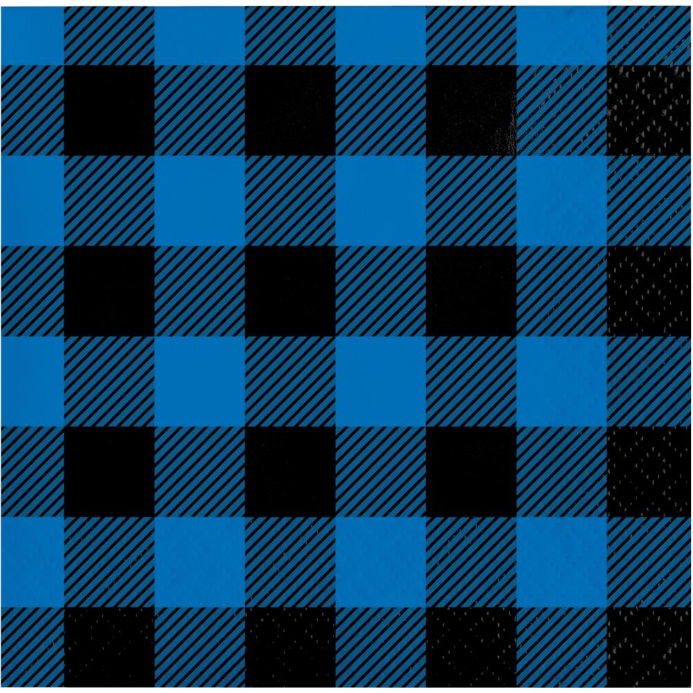 Blue Black Buffalo Plaid Beverage Napkin (16/Pkg) by Creative Converting