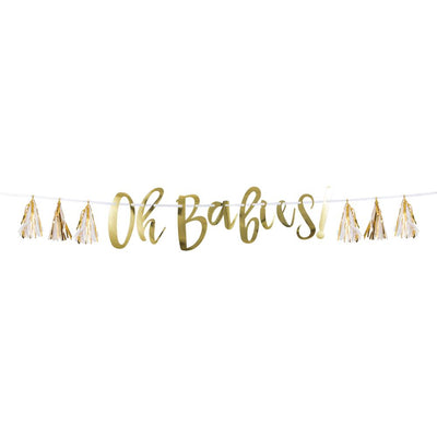 White And Gold Oh Babies Tassel Banner (1/Pkg) by Creative Converting