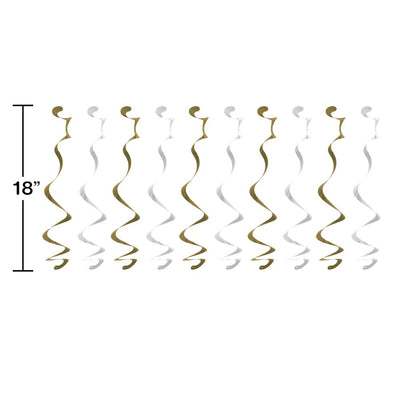 White And Gold Dizzy Danglers (10/Pkg)